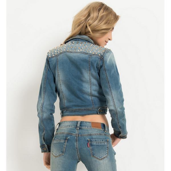 Veste en jean cloutée fashion pour femme 973736f8d3ae